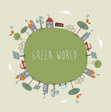 Trendy colorful go green world. Vector illustration layered for easy manipulation and custom coloring.