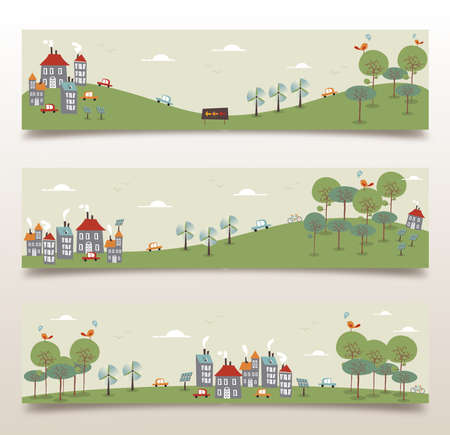 Ecology city and forest idea banner set. Vector illustration layered for easy manipulation and custom coloring.