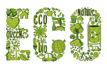 Word eco with environmental hand drawn icons in green. This illustration is layered for easy manipulation and custom coloring