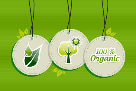 Green biology  design elements circle symbols set background.  Vector file layered for easy manipulation and custom coloring.