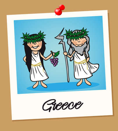 Greek man and woman cartoon couple in vintage instant photo frame. Vector illustration layered for easy editing.