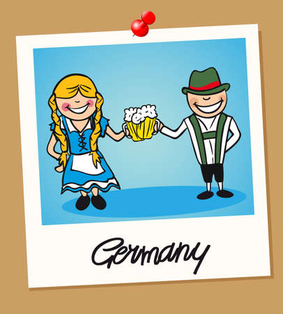 German man and woman cartoon couple in vintage instant photo frame. Vector illustration layered for easy editing.