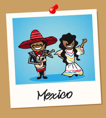 Mexican man and woman cartoon couple in vintage instant photo frame. Vector illustration layered for easy editing.