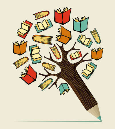 Reading books education concept pencil tree. Vector illustration layered for easy manipulation and custom coloring.