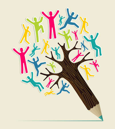Diversity world people concept pencil tree. Vector illustration layered for easy manipulation and custom coloring.