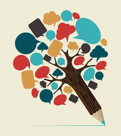 Communication speech bubble concept pencil tree. Vector illustration layered for easy manipulation and custom coloring.