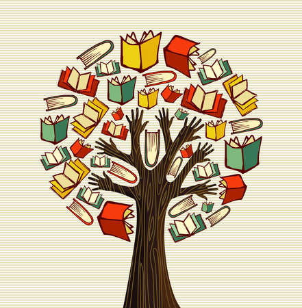 Global education concept tree hand books.  file layered for easy manipulation and custom coloring.