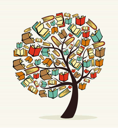 Illustration pour Global education concept tree made with books.  file layered for easy manipulation and custom coloring.    - image libre de droit
