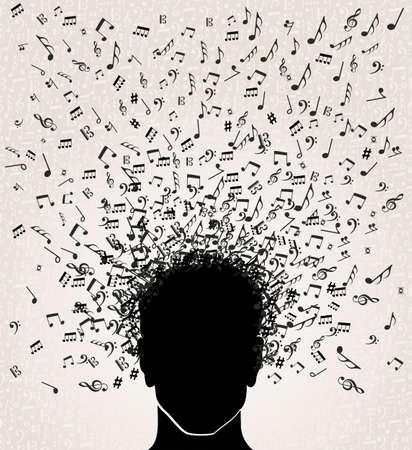 Human head with music notes coming out, white background.