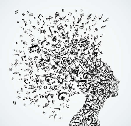 Music notes splash from woman's head illustration.