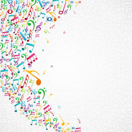 Colorful random music notes isolated background.
