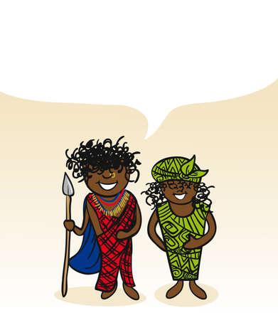 Kenyan man and woman cartoon couple with social media bubble.