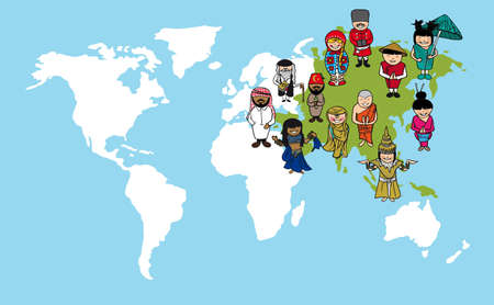 Diversity concept world map, cartoon people over asia continent.