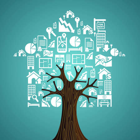 Real estate symbols tree house, rental concept illustration.
