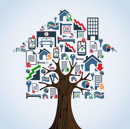 Real estate symbols tree house rental concept illustration.