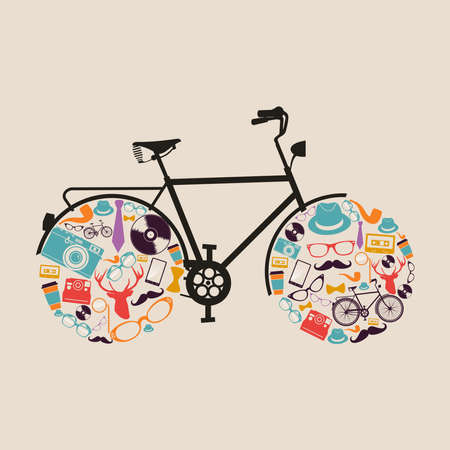 Retro fashion hipsters icons bicycle illustration