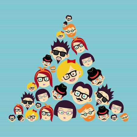 Illustration for Retro fashion hipsters happy faces  triangle shape illustration   - Royalty Free Image