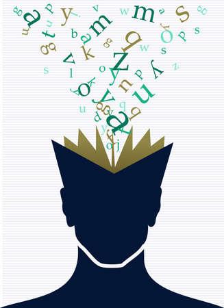 Illustration for Vintage human head open book words splash illustration.  - Royalty Free Image