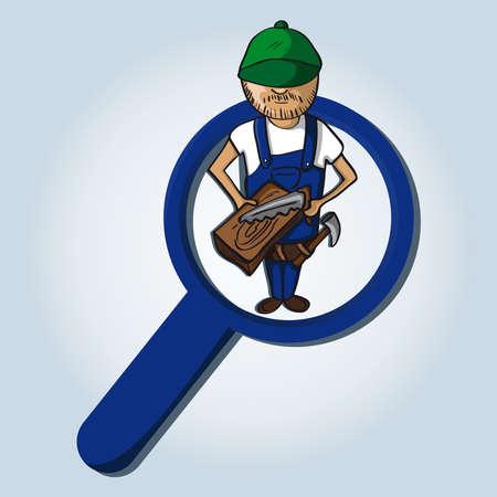 Illustration pour Service online search icon carpenter man cartoon.  - image libre de droit