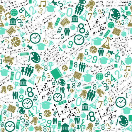 Illustration pour Back to School green icons education seamless pattern background.  - image libre de droit