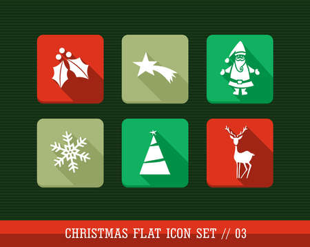 Merry Christmas colorful internet app flat icon set. Vector file layered for easy personalization.