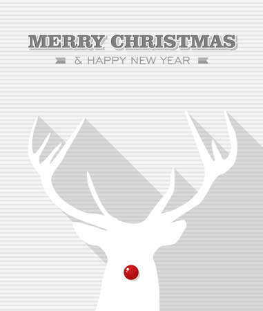 Merry Christmas and happy new year, Rudolph reindeer red dot nose  Vector file layered for easy editing