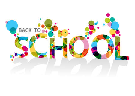 Colorful back to school text, transparent circles illustration background.