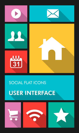 Social media mobile  applications graphic user interface flat icons set.