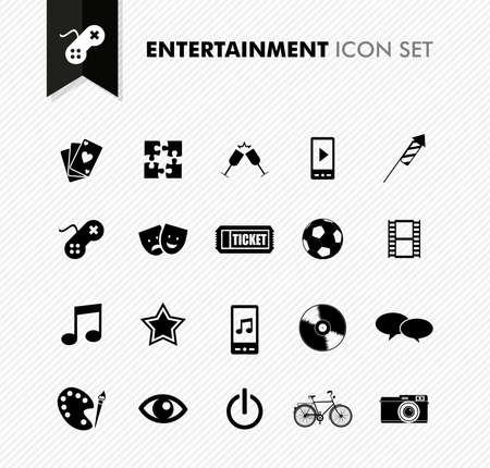 Modern entertainment leisure and fun icon set. Vector file in layers for easy editing.