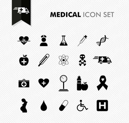 Modern medical health, disease wellness icon set. Vector file in layers for easy editing.