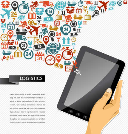Shipping logistics application concept icons splash composition. Human hand tablet pc illustration. Vector file in layers for easy personalization.