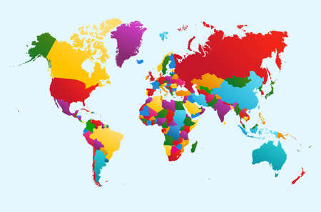 World map, colorful countries Atlas illustration. EPS10 vector file organized in layers for easy editing.