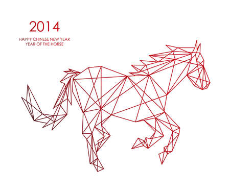 Illustration pour Unusual abstract triangle web composition animal shape: 2014 Chinese New Year of the Horse illustration. Vector file organized in layers for easy editing. - image libre de droit