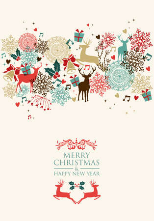 Vintage Christmas card and Happy New Year seamless pattern background.
