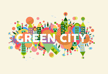 Illustration pour Colorful green city. Environment and ecology sustainable development concept illustration. - image libre de droit