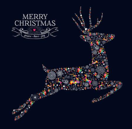 Ilustración de Merry Christmas greeting card. Jumping reindeer shape in vintage retro style illustration. - Imagen libre de derechos