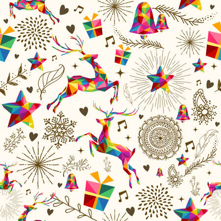 Foto de Christmas vintage retro style seamless pattern. Colorful triangles with grunge texture reindeer and snowflakes composition.  - Imagen libre de derechos