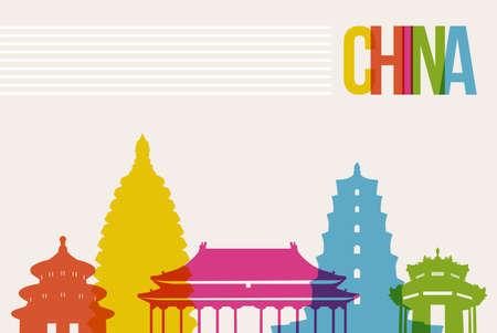 Travel China famous landmarks skyline multicolored design background