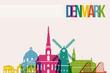 Travel Denmark famous landmarks skyline multicolored design background