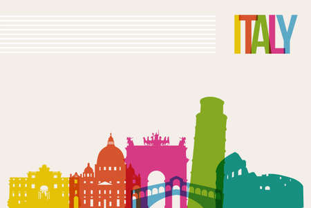 Travel Italy famous landmarks skyline multicolored design background
