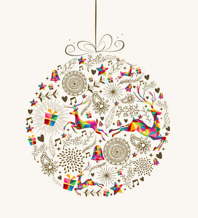 Vintage Christmas bauble shape with colorful reindeer and retro elements greeting card. vector file organized in layers for easy editing.