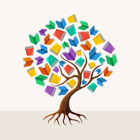 Illustration pour Education and learning concept with colorful abstract tree book illustration.  - image libre de droit