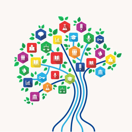 New media technology education and e-learning concept tree with back to school subjects icon set.