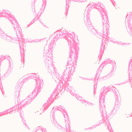 Global collaboration breast cancer awareness concept illustration. Seamless pattern background made of hand drawn ribbon symbols.