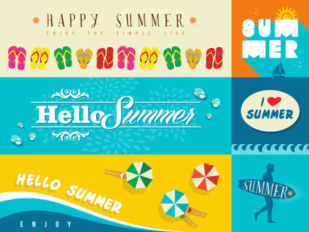 Illustration pour Set of flat design banners for summer and vacation. Ideal for greeting card, print poster and website. EPS10 vector file. - image libre de droit