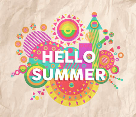 Hello summer colorful typography Poster. Inspiring motivation quote design. Ideal for holidays and vacational marketing campaign. EPS10 vector file.