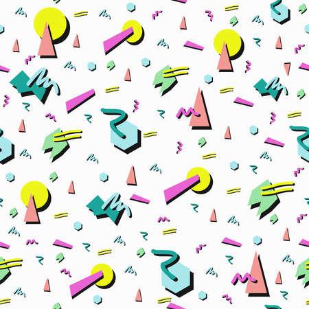 Ilustración de Retro vintage 80s fashion style seamless pattern illustration background. Ideal for fabric design paper print and website backdrop. EPS10 vector file. - Imagen libre de derechos