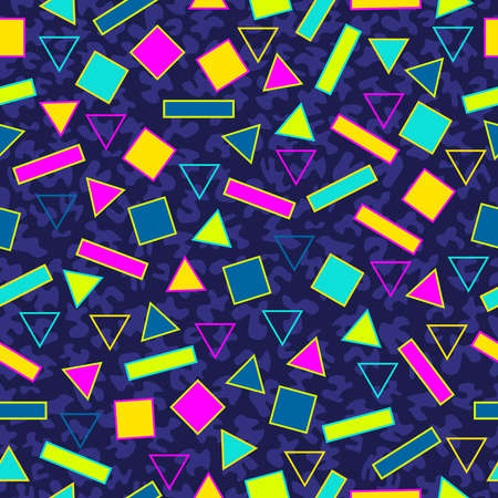 Illustration for Retro vintage 80s memphis fashion style seamless pattern illustration background. Ideal for fabric design, paper print and website backdrop.  vector file. - Royalty Free Image