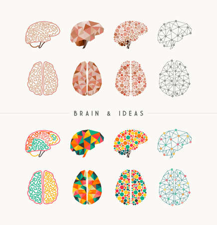 Illustration pour Set of colorful brains and ideas elements concept illustration. Ideal for app icons, infographic design and creative brochure.  vector file. - image libre de droit
