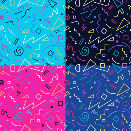 Illustrazione per Set of retro vintage 80s memphis fashion style seamless pattern illustration background. Ideal for fabric design, paper print and website backdrop.  vector file. - Immagini Royalty Free